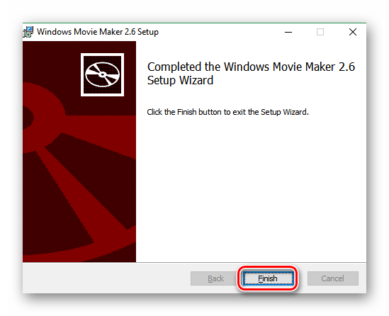 Кнопка Готово в мастере установки Windows Movie Maker 2.6