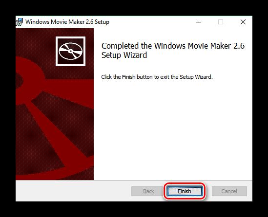 Завершение переустановки Windows Movie Maker 2.6